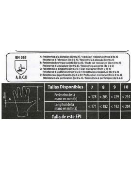 GUANTE SIFER FLOR VACUNO GRIS VARIOS TAMAÑOS